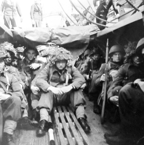 An indication of the cramped quarters that were an LCA. Here, Canadian troops take part in Exercise Fabious, 15 May 1944.