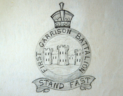 Drawing of the badge prior to the decision to remove any mention of battalion numbers.