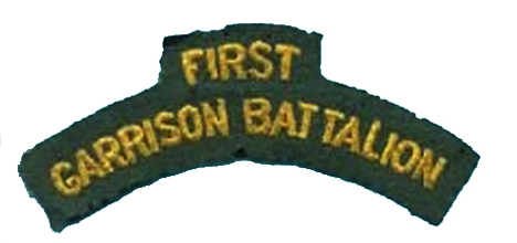 A contract was let for 4,000 shoulder titles to the First Garrison Battalion and these were delivered in January 1943.