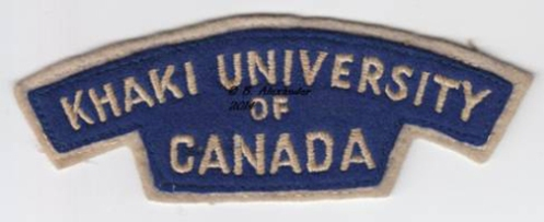 The Khaki University of Canada embroidered shoulder title. Author's collection.