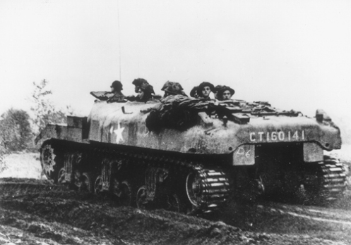 "A 'Ram' Kangaroo of 1st Canadian Armoured Personnel Carrier Squadron, in support of 12th British Corps operations, in Holland, during mid to late October 1944. CT160141, was one of the initial issue of 'Ram' Kangaroo armoured personnel carriers to the squadron, having been received from ""F"" Squadron, 25th Canadian Armoured Delivery Regiment (The Elgin Regiment), on 2 October 1944. Courtesy of Bovington Tank Museum (BTM 2293)"