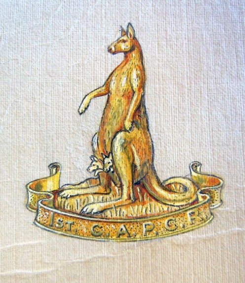 Scully artwork of the initial badge proposal. The inclusion of the two 'joeys' were not supported by HQ.