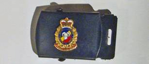 The belt buckle worn with CF Service Dress utilises a collar badge as its device. Author' collection