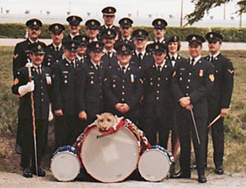 The 1 Service Battalion band. This unauthorised band is shown at Wainwright, Alberta, circa 1980.