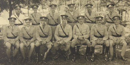 An undated, post First World War photo of a group of officers of The RCR. Most officers are clearly shown with a swagger stick. Ca. 1928. Courtesy Michael O'Leary