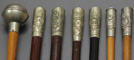"A selection of various swagger sticks held by The Royal Canadian Regiment Museum in London, On. The fourth one from the left appears to read ""Tricentenary (sic) Celebration"" and is believed to date to the 300th Anniversary of Quebec City in 1908. Photo courtesy Michael O'Leary."