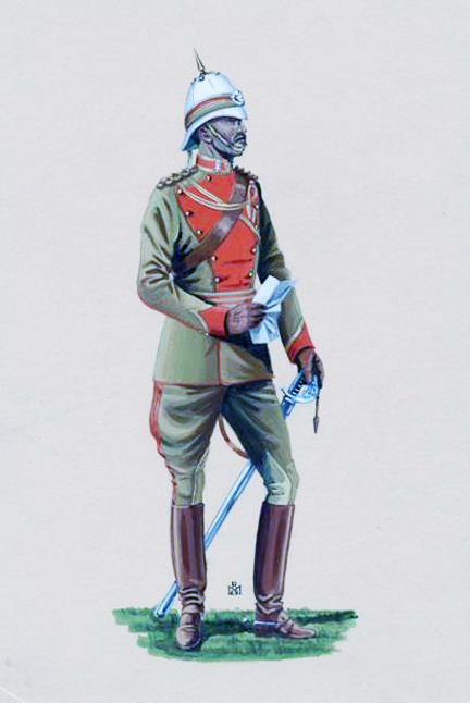 Corps of Guides, by Robert Marion  N.B.The 1897 pattern infantry sword and scabbard depicted by Marion are technically incorrect.  The Guides were only authorized 1908/1912 pattern cavalry swords, and even in full dress their scabbards were to be of brown leather.