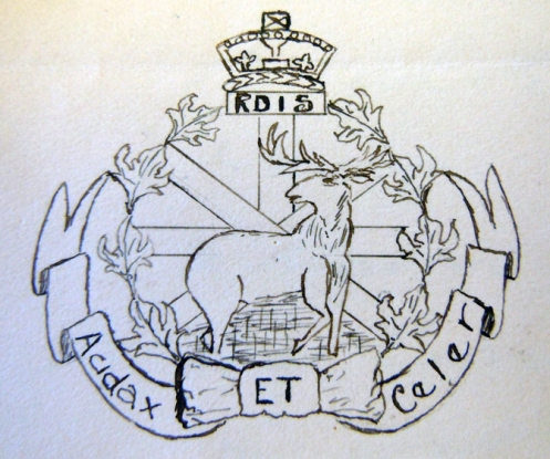Hand drawing of the badge from the Archives files.