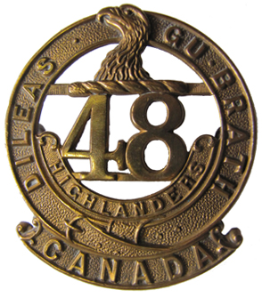 "48th Highlanders badge with ""Canada"" scroll. Courtesy Mark Passmore"