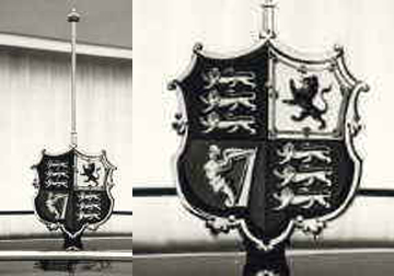 The Royal shield and the Royal standard's chrome staff.