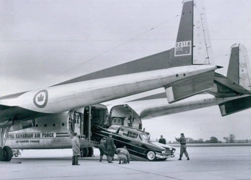 During the tour the three cars were ferried across the country by RCAF  C-119 'Flying Boxcar' aircraft.