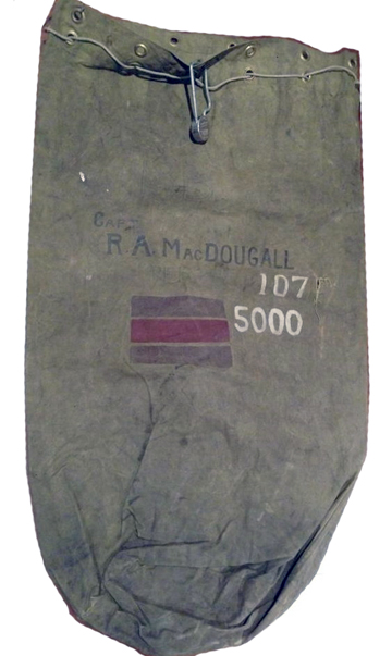 The number '107,' in white, identifies the kit bag owner as a member of The Perth Regiment. Source: Courtesy of Bill Donaldson