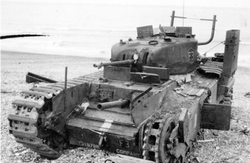 "A reworked Churchill Mark I of the Calgary Regiment's ""C"" Squadron Headquarters knocked out at Dieppe. Source: Authors' image file."