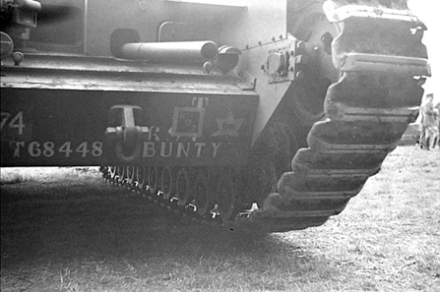 A Churchill Mark I of the Three Rivers Regiment, note the restricted traverse of the hull mounted 3-inch howitzer. Source: MilArt photo archives.