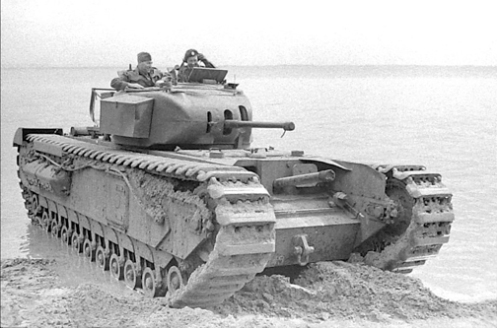 A Churchill Mark I of the Calgary Regiment, note the Mark I's cast one-piece turret and the absence a mantlet. Source: MilArt photo archives.