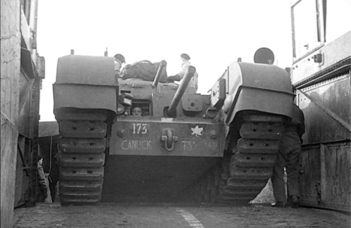 A reworked Churchill Mark I of the Ontario Regiment, note the driver's small vision port protected with very thick glass. Source: MilArt photo archives.