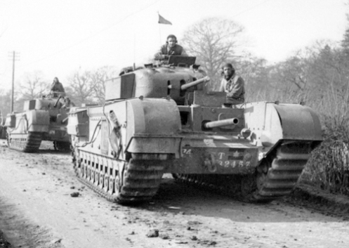 Two reworked Churchill Mark Is of the Three Rivers Regiment on exercise somewhere in England. Source: MilArt photo archives.
