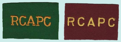 R.C.A.P.C. embroidered patches for 4 Canadian Armoured Division and 5 Canadian Armoured Division. Author's collection.