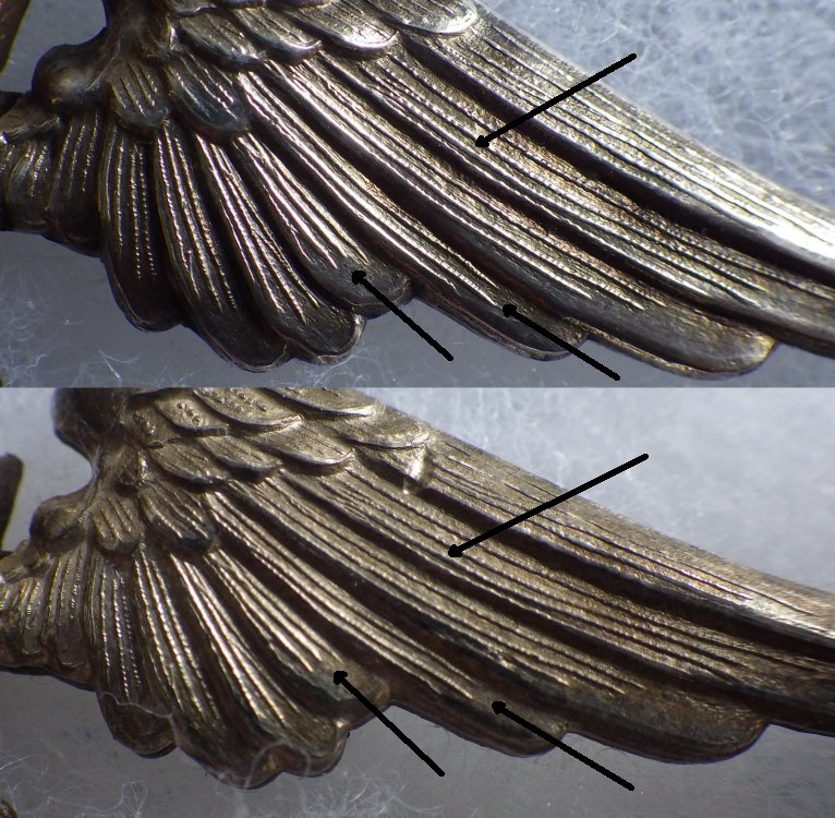 1) examples of line etching in wing