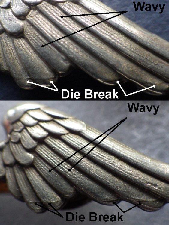 2) examples of wavy etching in wing